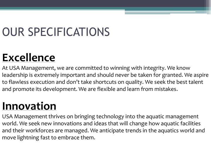 Our specifications