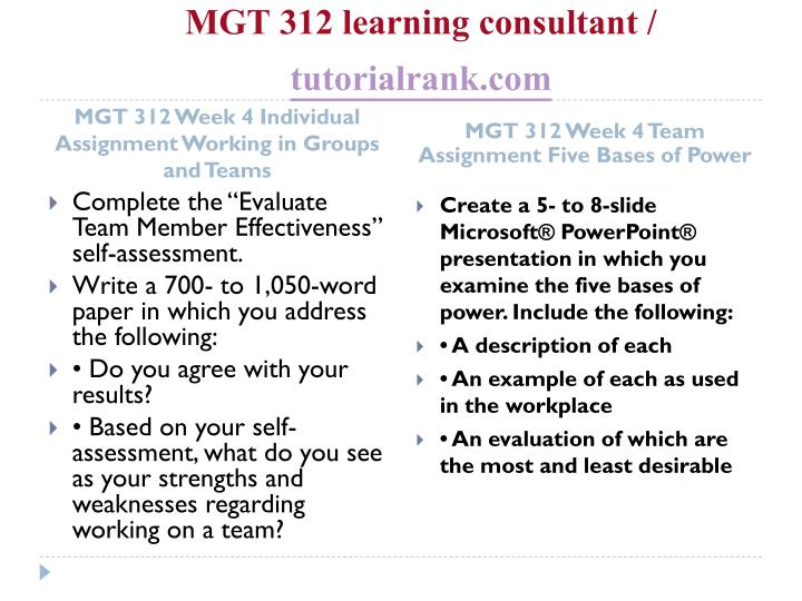 MGT 312 learning consultant /