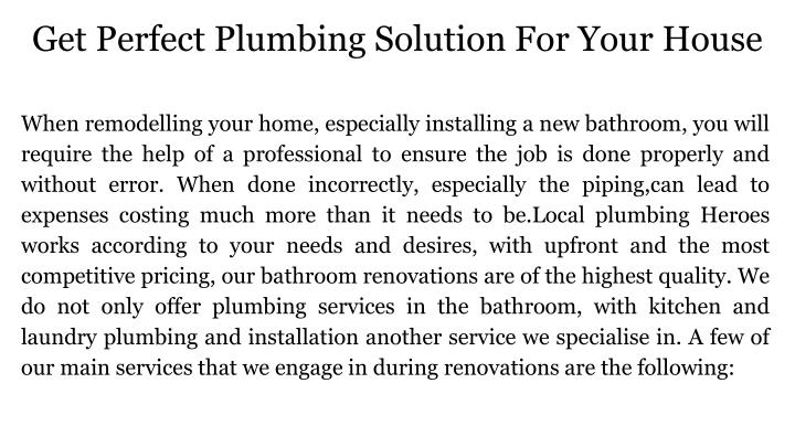 Get perfect plumbing solution for your house