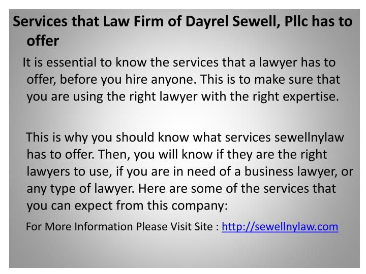 Services that Law Firm of