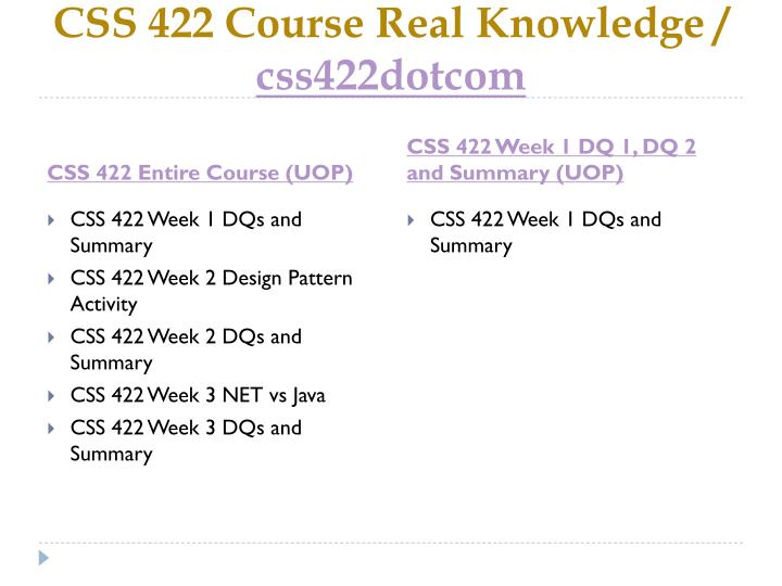Css 422 course real knowledge css422dotcom1
