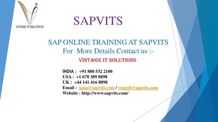 SAP ONLINE TRAINING AT SAPVITS