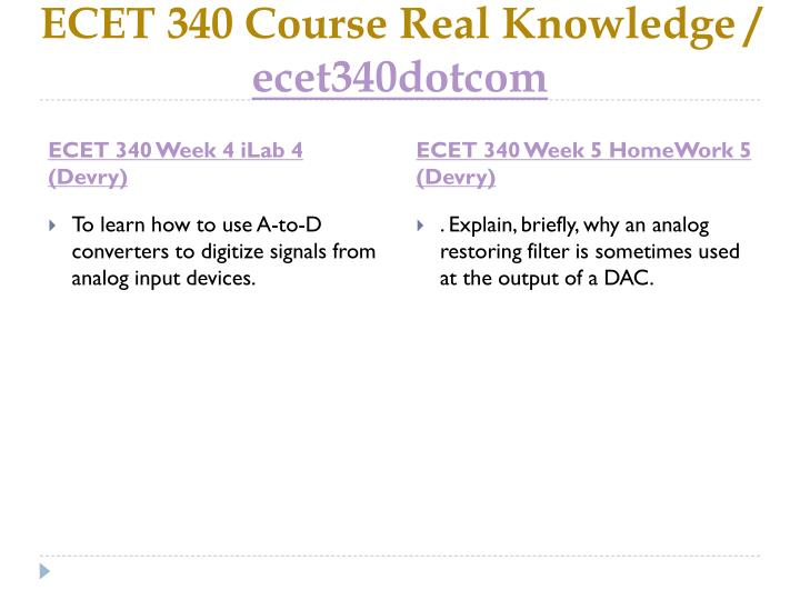 ECET 340 Course Real Knowledge /
