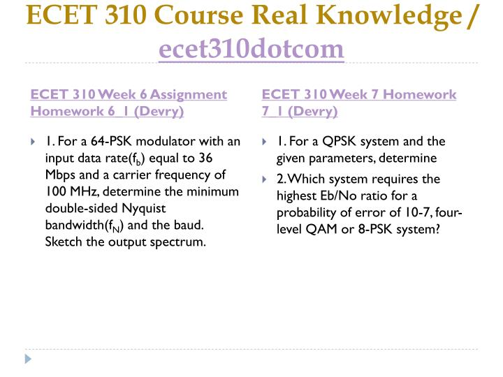 ECET 310 Course Real Knowledge /