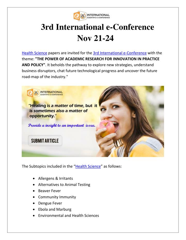 3rd International e-Conference