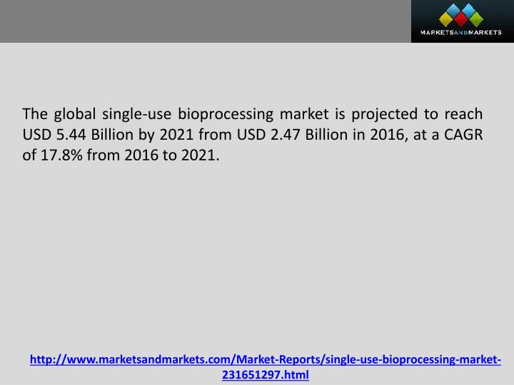 The global single-use bioprocessing market is projected to reach USD 5.44 Billion by 2021 from USD 2.47 Billion in 2016, at a CAGR of 17.8% from 2016 to 2021.
