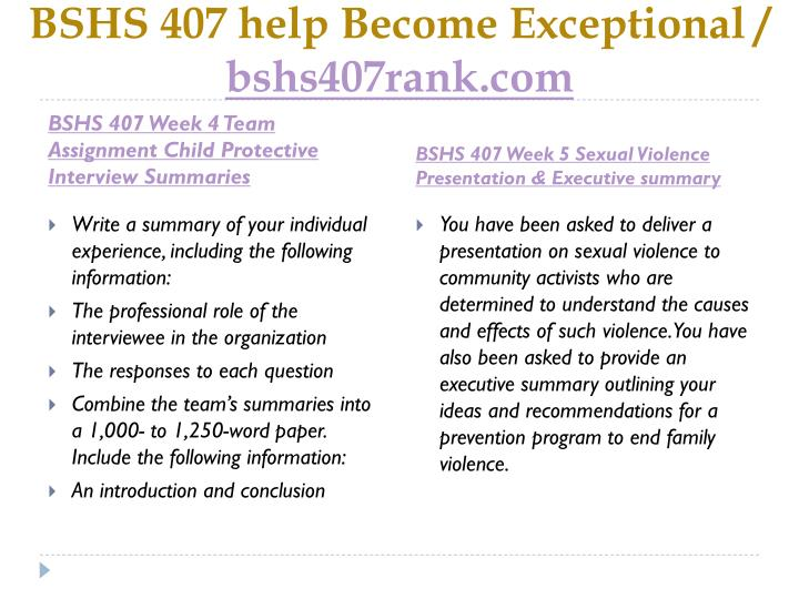 BSHS 407 help Become Exceptional /