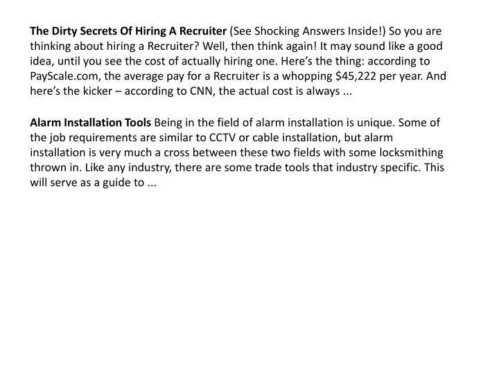 The Dirty Secrets Of Hiring A Recruiter