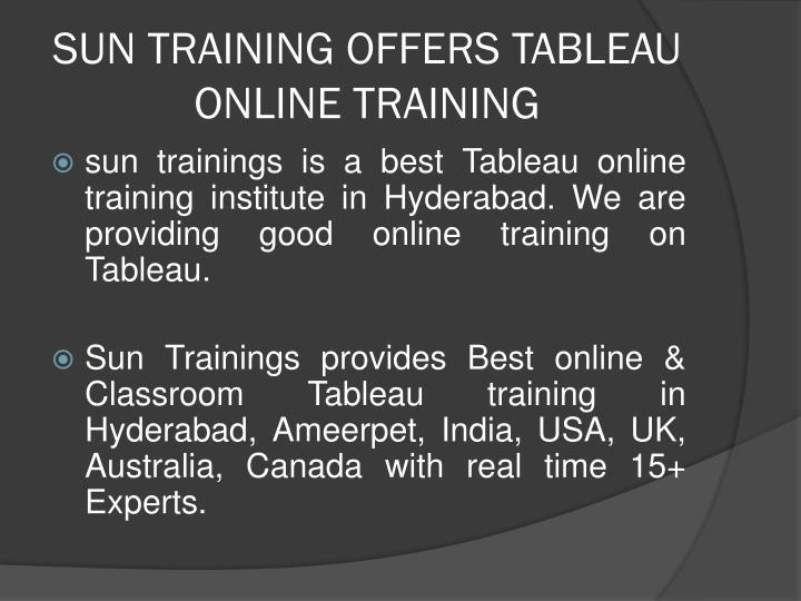 Sun training offers tableau online training