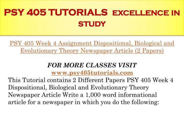 PSY 405 TUTORIALS
