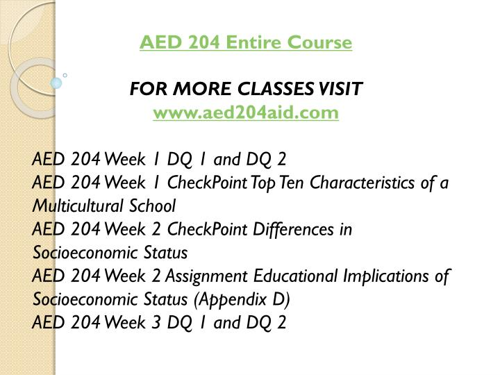 AED 204 Entire Course