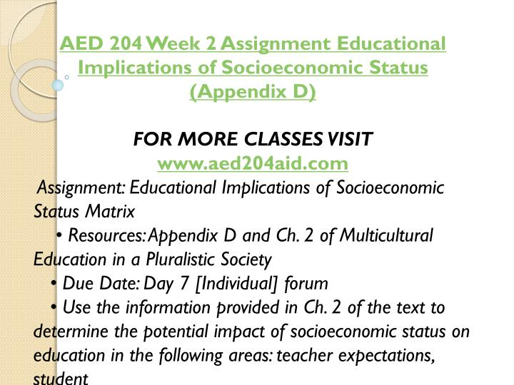 AED 204 Week 2 Assignment Educational Implications of Socioeconomic Status (Appendix D)