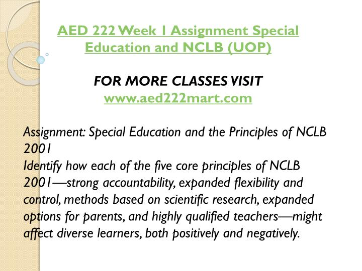 AED 222 Week 1 Assignment Special Education and NCLB (UOP)