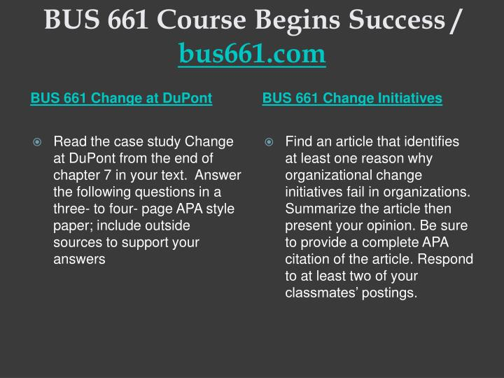 Bus 661 course begins success bus661 com1