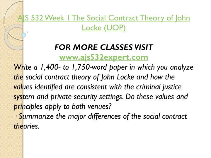 AJS 532 Week 1 The Social Contract Theory of John Locke (UOP)