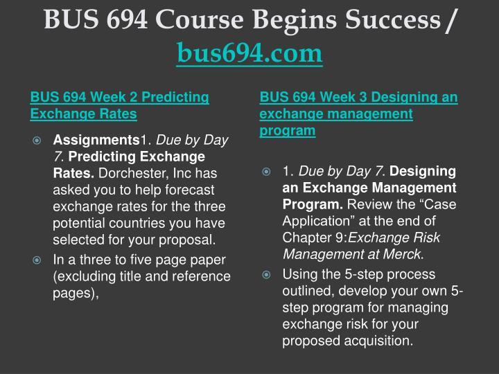 Bus 694 course begins success bus694 com2