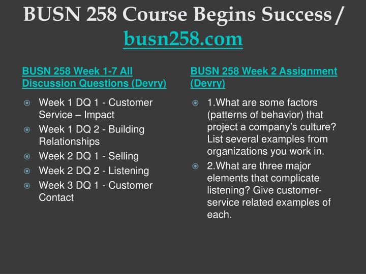 Busn 258 course begins success busn258 com2