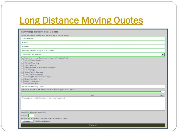 Long distance moving quotes