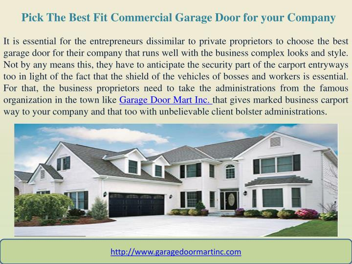 pick the best fit commercial garage door for your company n.