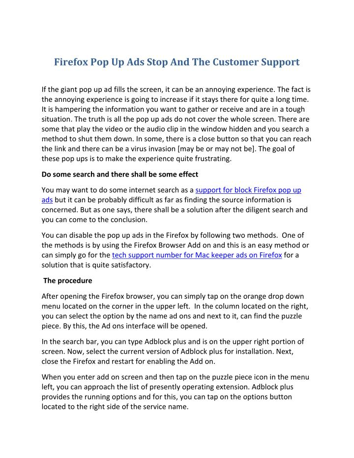 Firefox Pop Up Ads Stop And The Customer Support