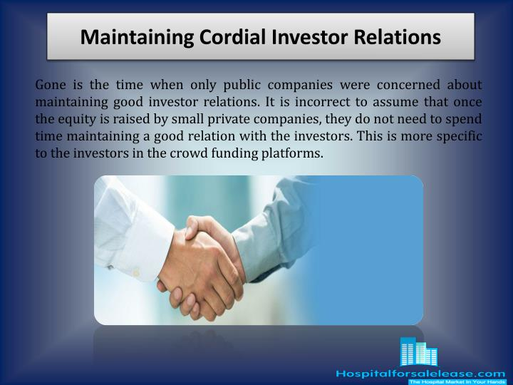 maintaining cordial investor relations n.