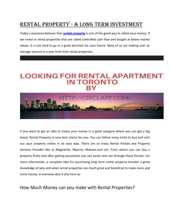 Rental Property - A Long Term Investment