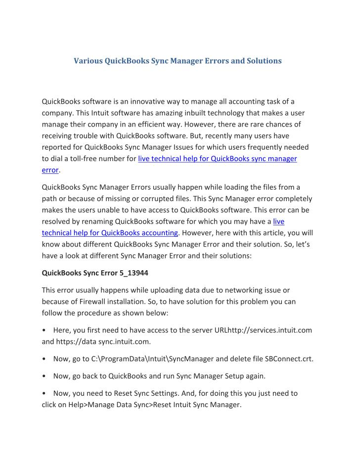Various QuickBooks Sync Manager Errors and Solutions