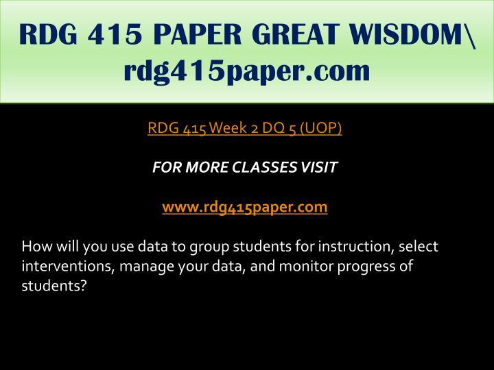 RDG 415 PAPER GREAT WISDOM\ rdg415paper.com