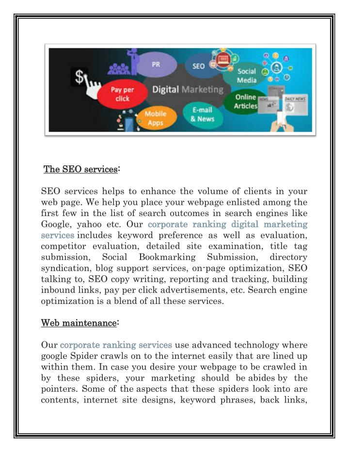 The SEO services
