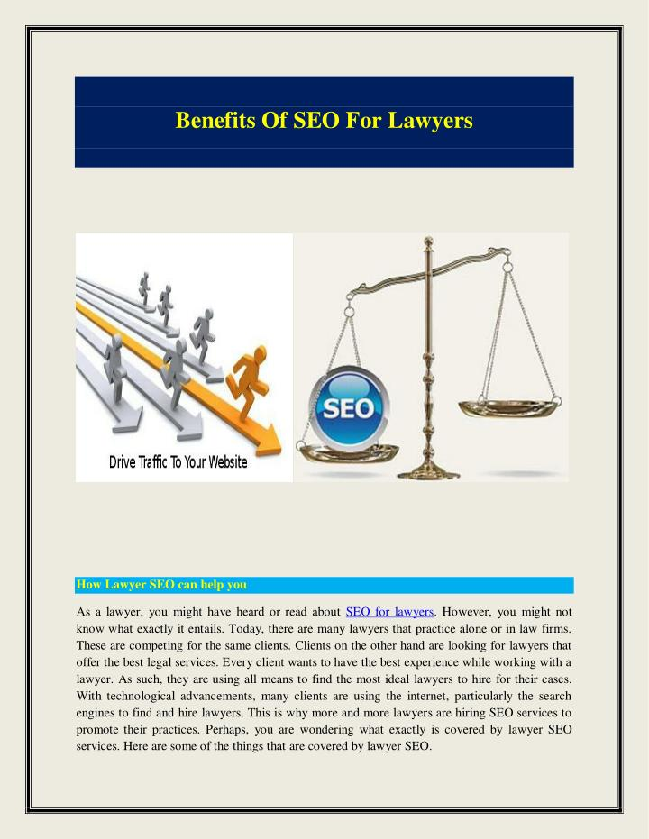 Benefits Of SEO For Lawyers