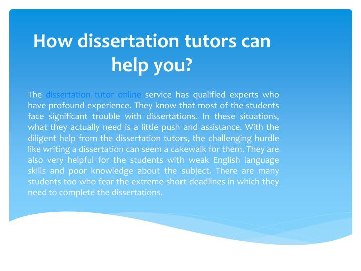 How dissertation tutors can help you