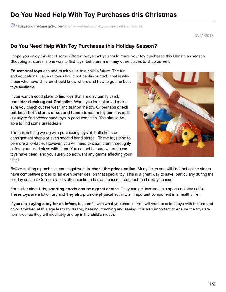 Do You Need Help With Toy Purchases this Christmas