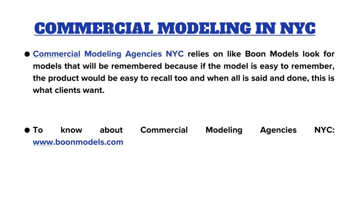 COMMERCIAL MODELING IN NYC