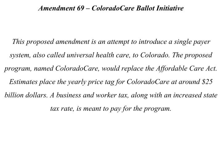 Amendment 69 – ColoradoCare Ballot Initiative