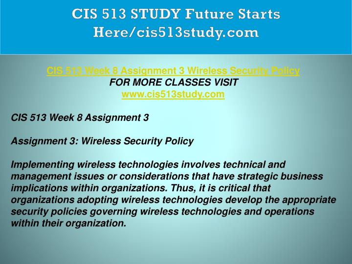 cis 513 week 10 Click the button below to add the cis 513 cis513 week 3 case study 1 to your wish list.