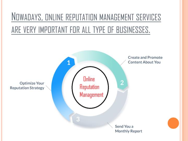 Nowadays online reputation management services are very important for all type of businesses