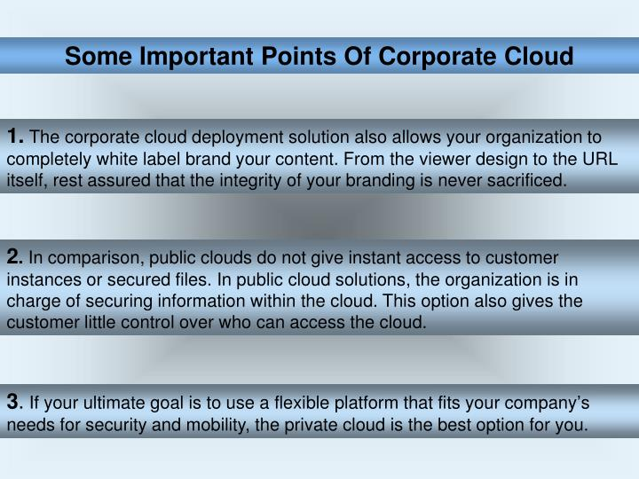 Some Important Points Of Corporate Cloud