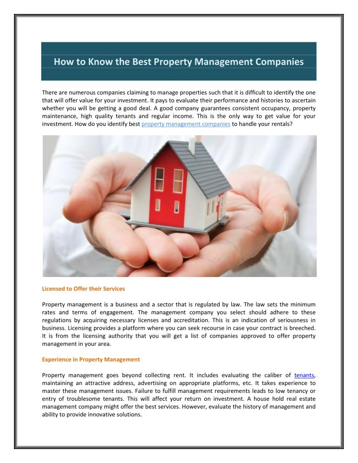 How to Know the Best Property Management Companies