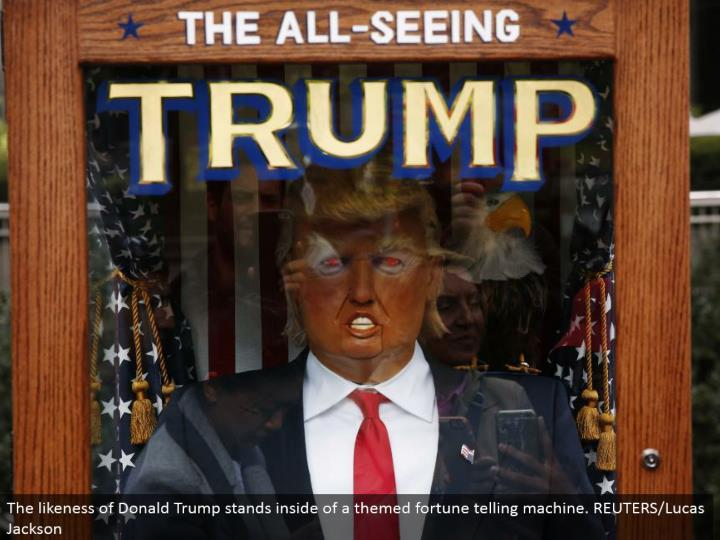 The resemblance of Donald Trump remains within a themed fortune telling machine. REUTERS/Lucas Jackson