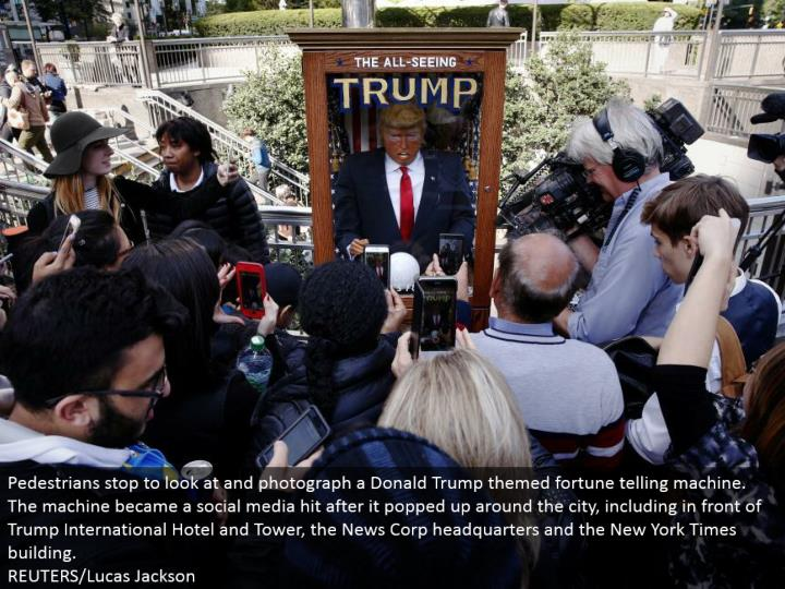 Pedestrians stop to take a gander at and photo a Donald Trump themed fortune telling machine. The machine turned into a web-based social networking hit after it appeared around the city, incorporating into front of Trump International Hotel and Tower, the News Corp home office and the New York Times building.  REUTERS/Lucas Jackson