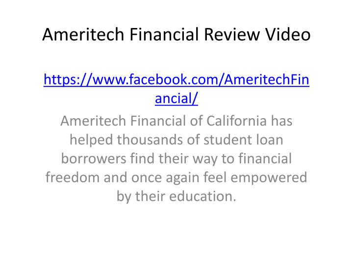 ameritech financial review video n.