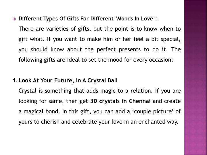 Different Types Of Gifts For Different 'Moods In Love':