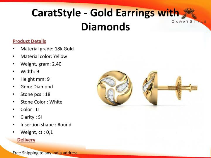 Caratstyle gold earrings with diamonds