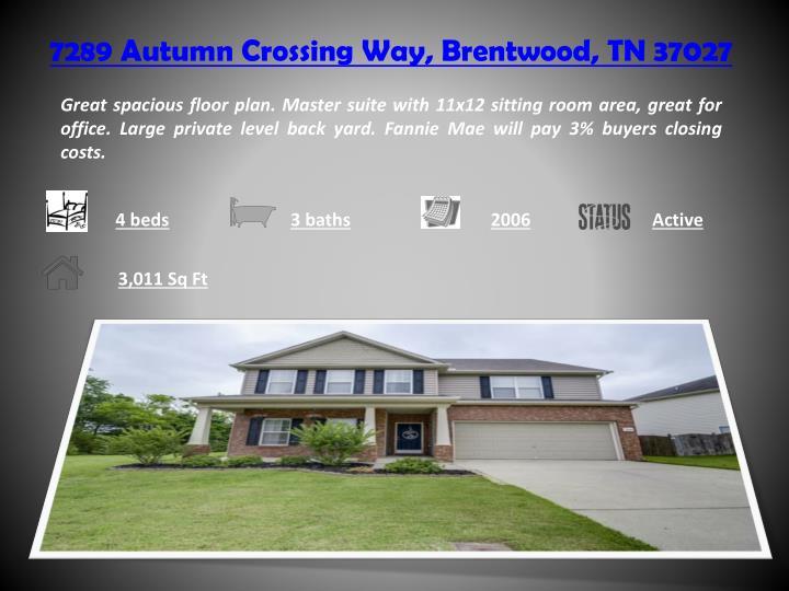 7289 autumn crossing way brentwood tn 37027