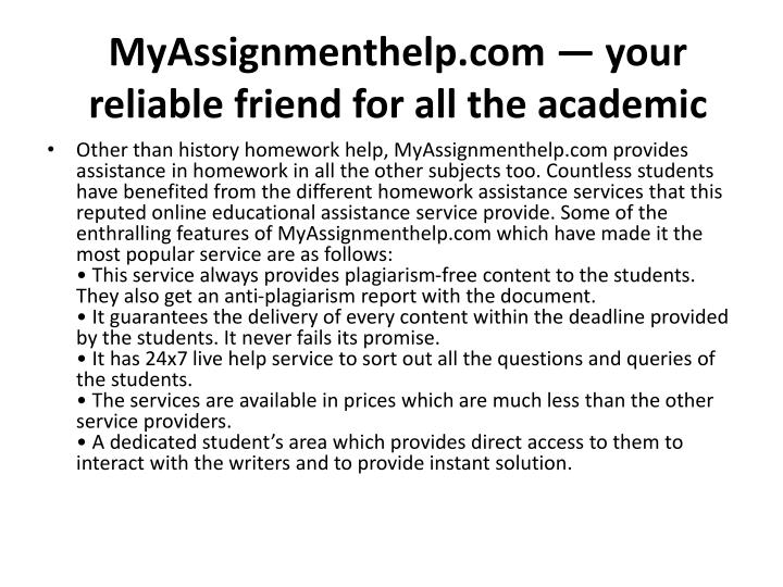 Myassignmenthelp com your reliable friend for all the academic