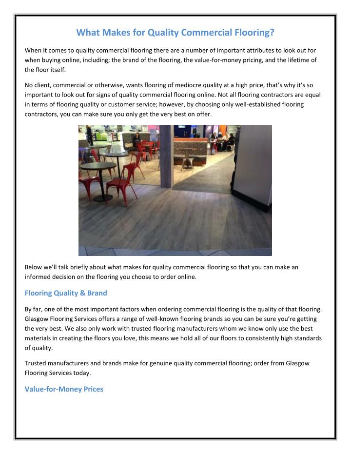 What Makes for Quality Commercial Flooring?