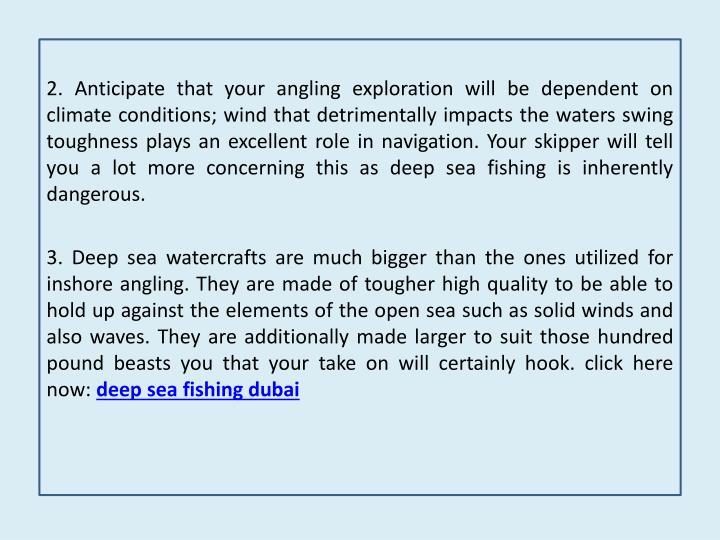 Deep sea fishing trips in dubai