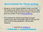 best institute for thesis writing