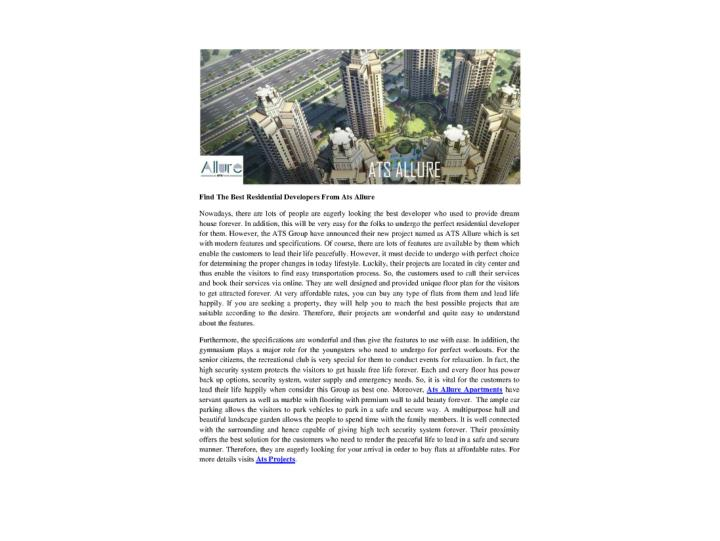 Find the best residential developers from ats allure