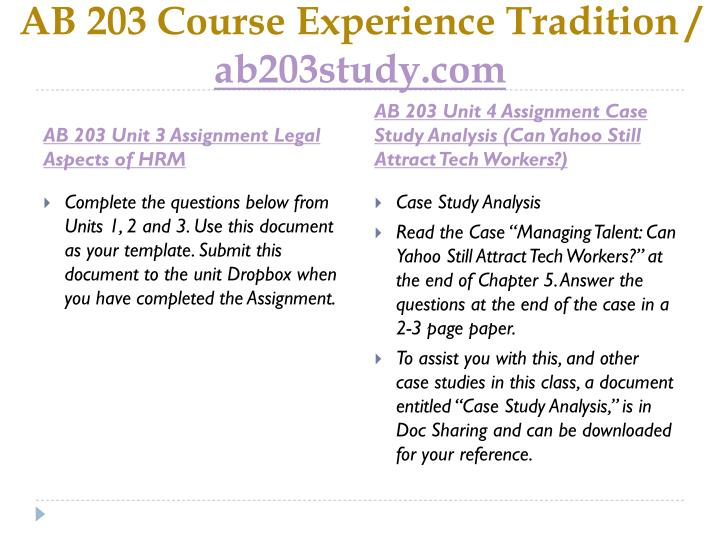 Ab 203 course experience tradition ab203study com2